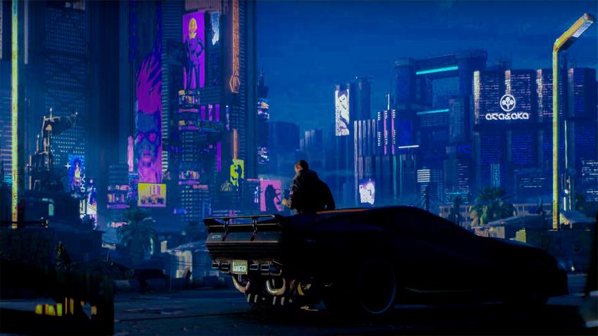 киберпанк 2077 Оживленный ночной город